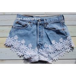 Vintage White lace levis...