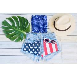American flag denim shorts...