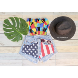 American flag denim shorts...