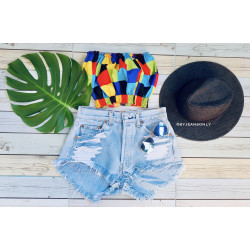 ripped jeans with rainbow...